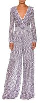 Missoni Ruffled V-Neck Wide-Leg Jumpsuit, Purple