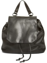 Phase 3 Perforated Faux Leather Backpack - Black