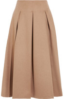 Max Mara Pleated Camel Hair Midi Skirt