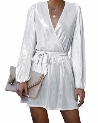 YOINS Women Party Dresses Sequin V Neck Lantern Long Sleeves Sexy Mini Dress Club for Ladies Silver Grey L