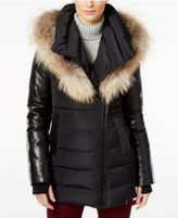 Rudsak Roya Asiatic Raccoon-Fur-Trim Asymmetrical Down Coat