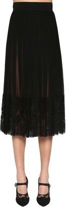Dolce & Gabbana Pleated Silk Georgette & Lace Midi Skirt