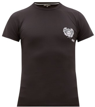 Versace Embroidered-logo Technical T-shirt - Black