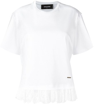 DSQUARED2 lace effect fringed T-shirt