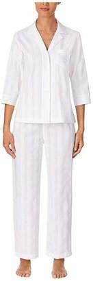 Lauren Ralph Lauren Shadow Stripe Woven Short Sleeve Notch Collar Pajama Set (White) Women's Pajama Sets