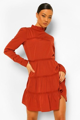 boohoo Tall Woven Tiered Long Sleeve Mini Dress