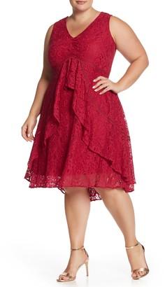 Taylor V-Neck Ruffle Lace Dress (Plus Size)