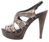 Christian Dior Leather Embossed Platform Sandals