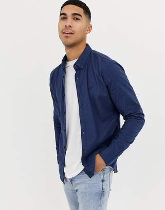 Hollister icon logo muscle fit buttondown oxford shirt in navy