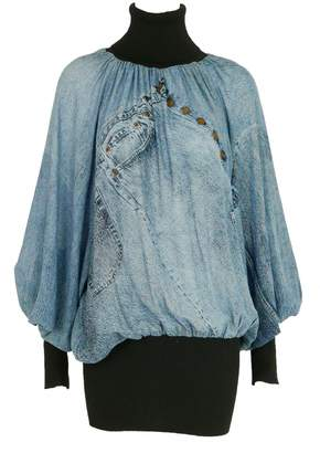 Christian Dior Blue Silk Knitwear