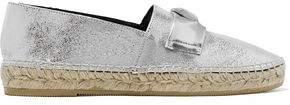 Clergerie Etoile Embellished Metallic Cracked-leather Espadrilles