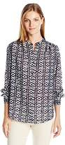 Jones New York Women's Mossaic Printed Clip Dot Long Sleeve Top
