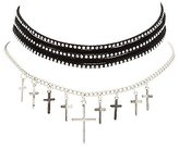 Charlotte Russe Studded & Cross Chain Choker Necklaces - 2 Pack