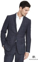 Banana Republic Slim Monogram Navy Plaid Wool Suit Jacket