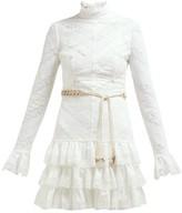 Zimmermann Veneto Perennial Lace-panel Tiered Mini Dress - Womens - White