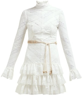 Zimmermann Veneto Perennial Lace-panel Tiered Mini Dress - Womens - White