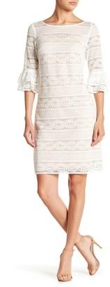 Brinker & Eliza 3/4 Ruffle Sleeve Lace Dress