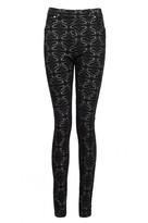 Select Fashion Fashion Womens Black Flock Baroque Jacquard Jegging - size 8
