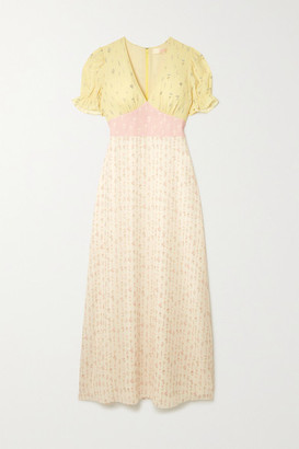TVF Sundae Paneled Floral-print Crepe De Chine Maxi Dress - Pastel yellow