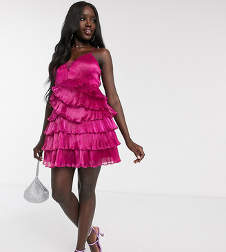 Dolly & Delicious exclusive pleated wrap mini plunge front prom dress in fuschia