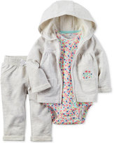 Carter's 3-Pc. Embroidered Hoodie, Floral-Print Bodysuit & Pants Set, Baby Girls (0-24 months)