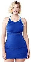 Classic Women's Plus Size AquaSport High-neck Tankini Top-Black/Vivid Cobalt