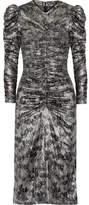 Isabel Marant Damia Ruched Printed Silk-blend Lamé Midi Dress