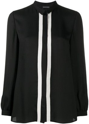 Emporio Armani Contrast Panel Concealed Button Blouse