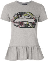 Markus Lupfer Artic Flower Lip peplum T-shirt