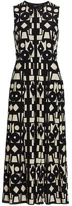 Akris Belted Wool & Silk Voile Midi Dress