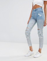 Missguided Holographic High Waisted Jean