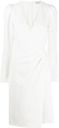RED Valentino Long-Sleeve Wrap-Effect Dress