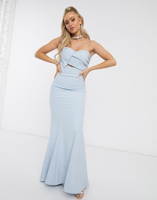 Jarlo origami bandeau maxi dress in blue