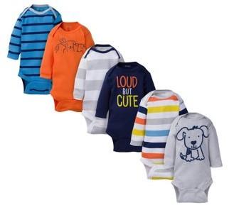 Onesies Brand Newborn Boy Assorted Long Sleeve Bodysuits, 6-Pack