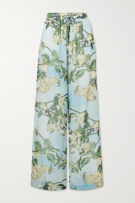 PatBO Floral-print Crepon Wide-leg Pants - Mint