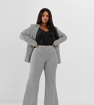 UNIQUE21 Hero Plus flared trousers in monogram print co-ord