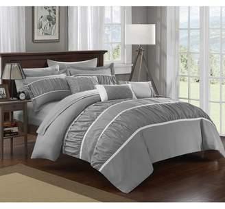 Aero Pleated & Ruffled Queen Bed In a Bag Comforter 10-Piece Set, Grey