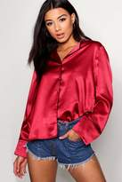 boohoo Jodie Satin Piped Pyjama Shirt