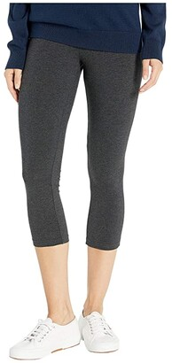 Hue Wide Waistband Blackout Cotton Capri Leggings (Black) Women's Casual Pants