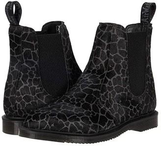 Dr. Martens Flora Giraffe Print Chelsea Boots (Black/Grey Hair On Giraffe) Women's Shoes