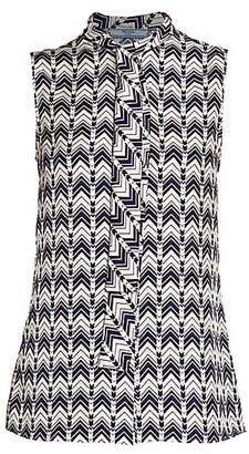 Prada Chevron-Print Sleeveless Tie-Neck Silk Blouse