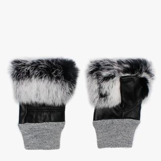 Jayley Black & White Fur Trim Leather Fingerless Mitts