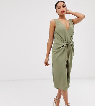 Asos DESIGN Petite drape midi dress with rope belt
