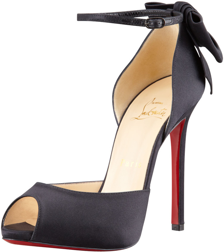 Christian Louboutin Dos Noeud Satin Back-Bow d'Orsay Red Sole Pump