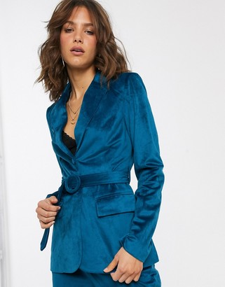 Fashion Union tailored blazer with belted waist in teal velvet