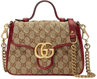 Gucci Gg Marmont 2.0 Top Handle Bag Red/ Beige