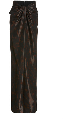 Brandon Maxwell Liquid Tortoiseshell Wrap-Effect Maxi Skirt