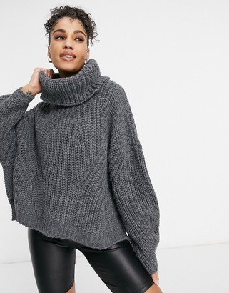 NaaNaa chunky knit roll neck sweater in charcoal