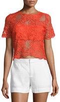 Karina Grimaldi Montana Short-Sleeve Crochet Top, Candela Crochet