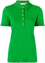 Tory Burch ruffled detail polo shirt - women - Cotton/Spandex/Elastane/Modal - XS